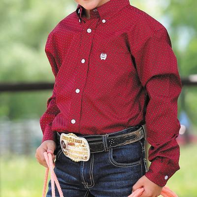 Cinch Boy's Long Sleeve Rectangle Geometric Button Shirt