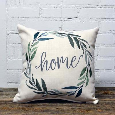 Home Green Wreath Pillow