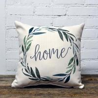 Home Green Wreath Pillow