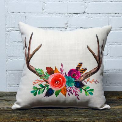 Wild Floral Antler Pillow