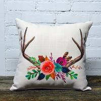 Wild Floral Antler Pillow