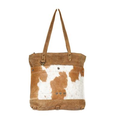 Myra Bag's Hazel Opulence Leather And Hair- On Tote Bag