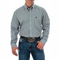 Cinch Men's Long Sleeve Blue Square Print Shirt