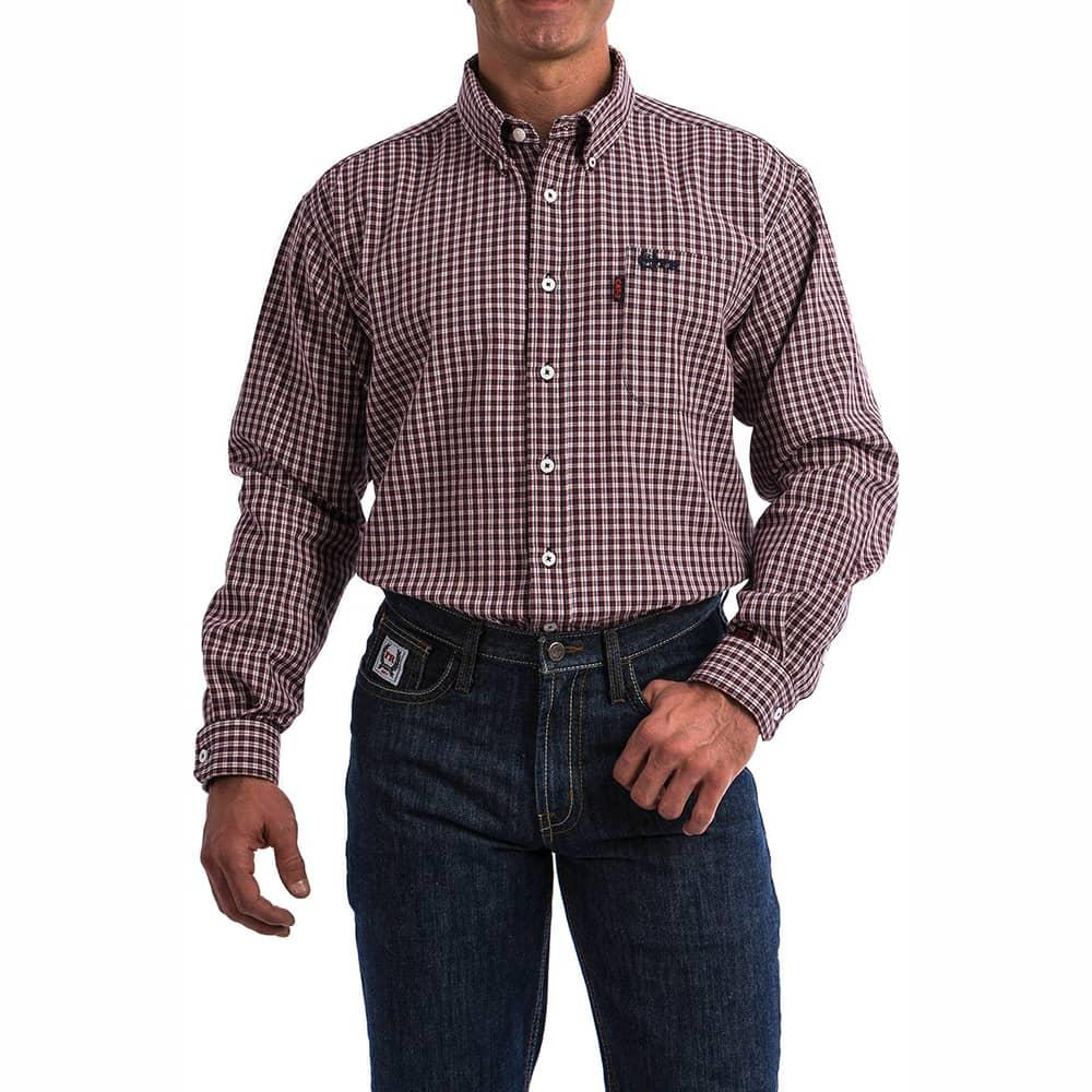 09fae9ad Cinch Men's Lightweight Red and Navy Plaid FR Shirt