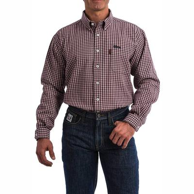Cinch Men's Lightweight Red and Navy Plaid FR Shirt