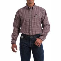 Cinch Men's Lightweight Red and Navy Plaid FR Shirt