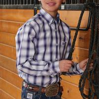 Cinch Boy's White and Purple Ombre Plaid Shirt
