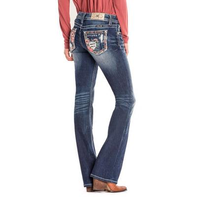 Miss Me Women's Distressed Floral Bootcut Jean