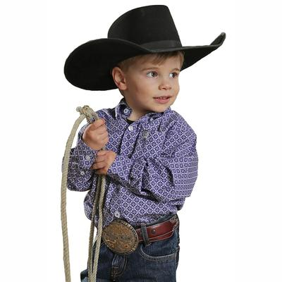 Cinch Toddler's Purple And White Long Sleeve Shirt