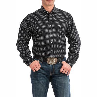 Cinch Men's Black And White Geometric Shirt