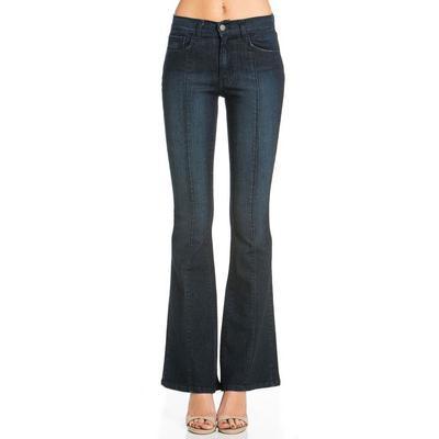 O2 Denim Women's Mid-Rise Flare Jeans DARKWASH