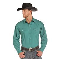 Panhandle Men's Long Sleeve Geometric Green Print Shirt