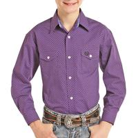 Panhandle Boy's Purple Dotted Snap Shirt