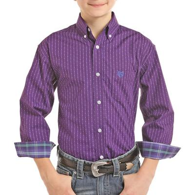 Panhandle Boy's Purple Striped Button Down Shirt