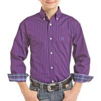 Panhandle Boy's Purple Striped Button Down Shirt