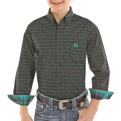 Panhandle Boy's Green Printed Button Down Shirt