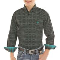 Panhandle Boy's Green Printed Button Down Shirt