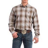 Cinch Men's White and Brown Plaid Button Shirt