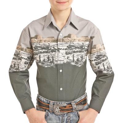Panhandle Boy's Scenic Border Button Down Shirt