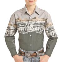 Panhandle Boy's Scenic Border Button Down Shirt