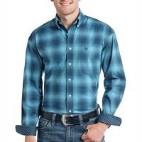 Panhandle Men's Upton Ombre Plaid Rough Stock Shirt