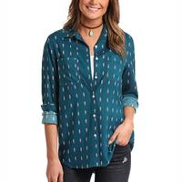 Panhandle Women's Teal Feather Boyfriend Shirt