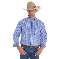 Wrangler Men's Blue Plaid George Strait Shirt
