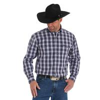 Wrangler Men's Black and Purple Ombre Plaid George Strait Shirt