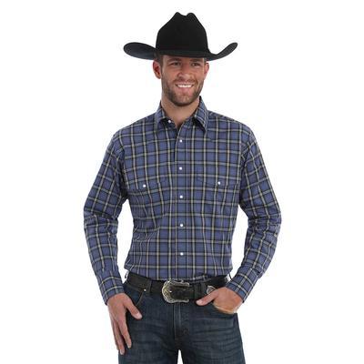 Wrangler Men's Blue and Black Plaid Wrinkle Resistant Shirt