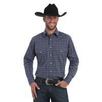 Wrangler Men's Blue and Black Plaid Wrinkle Resistant Shirt