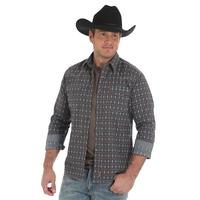 Wrangler Men's Brown and Turquoise Retro Shirt