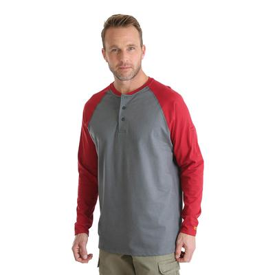 Wrangler Men's Red and Grey FR Baseball Henley Shirt