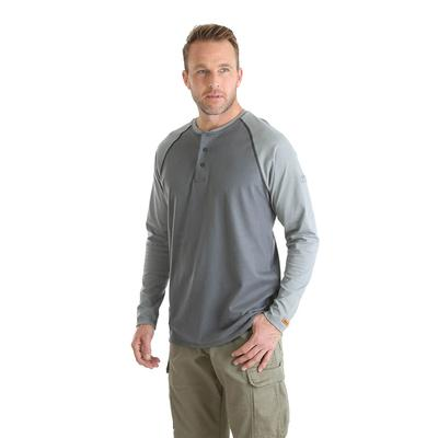 Wrangler Men's Grey FR Baseball Henley Shirt
