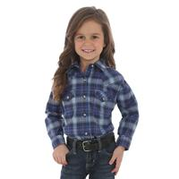 Wrangler Girl's Navy and Rose Plaid Shirt
