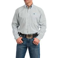 Cinch Men's Tencel navy and Light Blue Print Shirt
