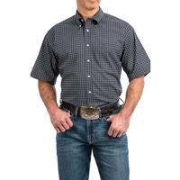 Cinch Men's Navy and Olive Geometric Print Shirt