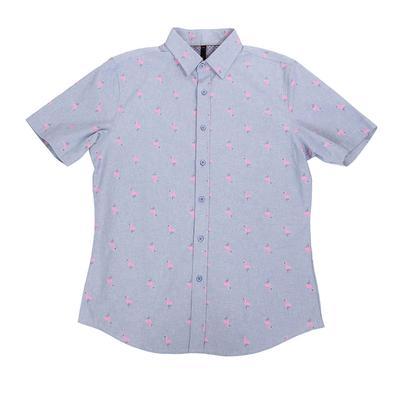 Smash Men's Short Sleeve Flamingo Button Shirt