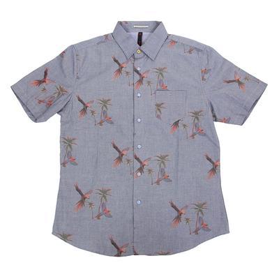 Smash Men's Short Sleeve Blue Palms Parrot Button Shirt