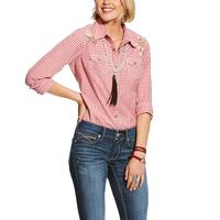 Ariat Women's Red and White Checkered Snap Shirt