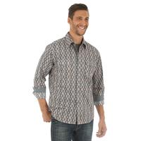 Wrangler Men's Retro Grey and Orange Shirt