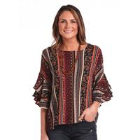 Panhandle Women's Layered Bell Sleeve Top