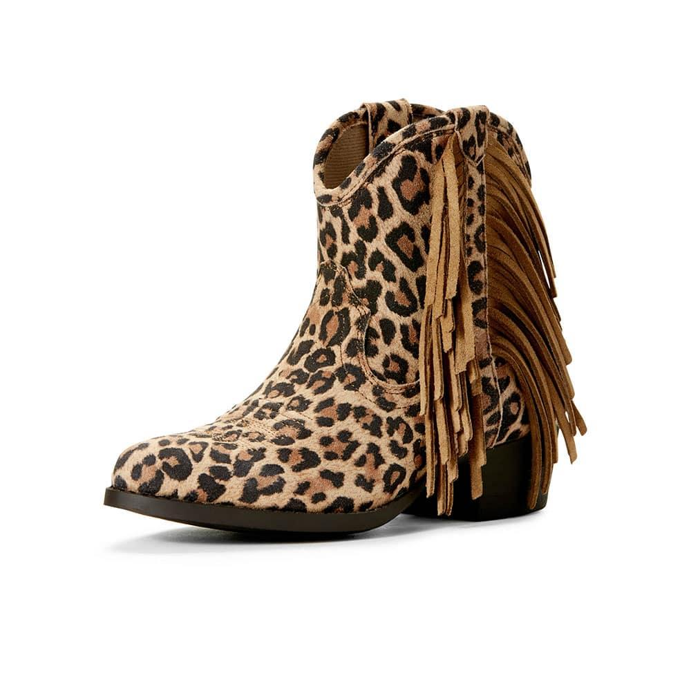 fe6fa979581f Ariat Girl's Duchess Leopard Fringe Ankle Boots