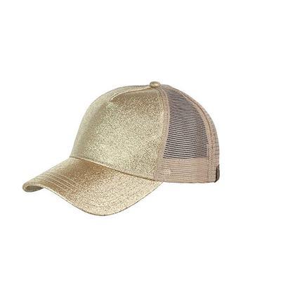 Women's Ponytail Gold Glitter Messy Trucker Cap