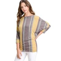 First Love Women's Striped Boat Neck and Dolman Top