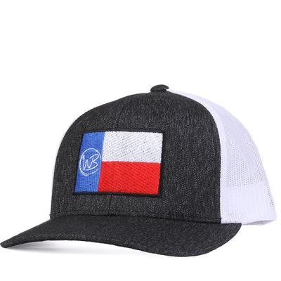 Whiskey Bent's Heathered Black and White WB Texas Flag Cap