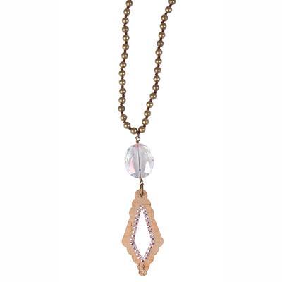 Pink Panache's Bronze Diamond Pendant Necklace