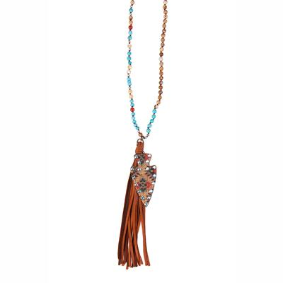 Pink Panache's Arrowhead Tassel Necklace