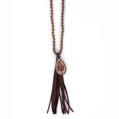 0e4a24a1037a6 Pink Panache s Bronze Leopard and Tassel Necklace