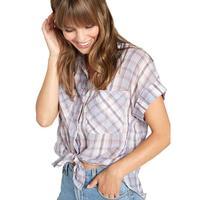 Bella Dahl Women's Plaid Rolled Short Sleeve Button Shirt