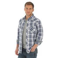 Wrangler Men's Retro Blue and White Ombre Plaid Shirt